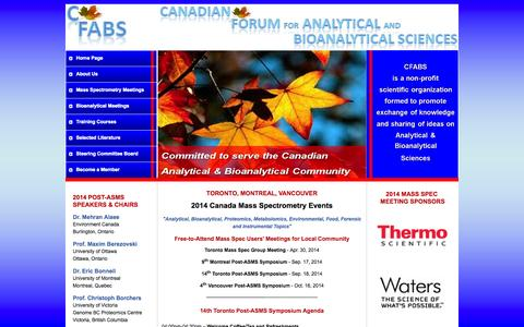 Screenshot of Home Page cfabs.org - CFABS - captured Oct. 1, 2014