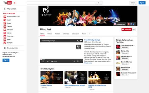 Screenshot of YouTube Page youtube.com - Milap fest  - YouTube - captured Oct. 26, 2014