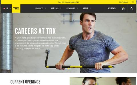 Screenshot of Jobs Page trxtraining.com - Careers | TRX - captured Oct. 22, 2015