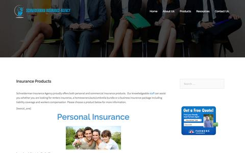 Screenshot of Products Page schneidermaninsurance.com - Insurance Products - Schneiderman Insurance Agency - captured Oct. 5, 2017
