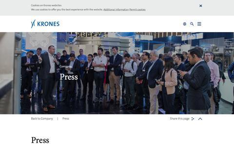 Screenshot of Press Page krones.com - Press - Krones - captured Oct. 17, 2017