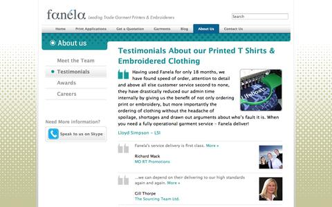 Screenshot of Testimonials Page fanela.co.uk - Testimonials About our Printed Promotional T Shirts and Corporate Clothing | Fanela - captured Oct. 5, 2014