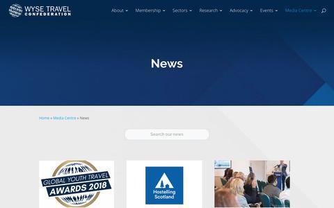 Screenshot of Press Page wysetc.org - News - WYSE Travel Confederation - captured Sept. 22, 2018