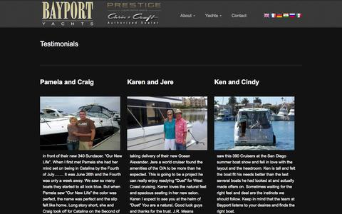 Screenshot of Testimonials Page bayportyachts.com - Welcome to Bayport Yachts   Testimonials - captured Sept. 30, 2014