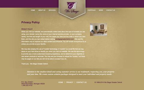 Screenshot of Privacy Page westagegreaterdetroit.com - We Stage Greater Detroit | Privacy Policy - captured Oct. 27, 2014