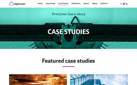 Screenshot of Case Studies Page highlanderuk.com - Managed IT Services Case Studies | Highlander UK - captured Sept. 28, 2018