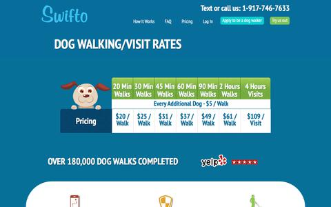 Screenshot of Pricing Page swifto.com - Dog Walking/Visit Rates | Swifto | NYC Dog Walking with GPS Tracking - captured July 13, 2018