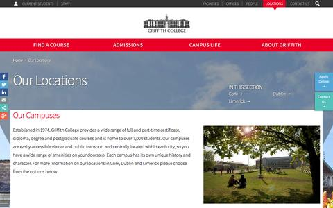 Screenshot of Locations Page griffith.ie - Our Locations | Griffith College - captured Sept. 19, 2014
