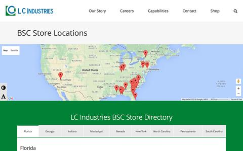 Screenshot of Locations Page lcindustries.com - BSC Store Locations - LC Industries | Growing & Building a Future for people who are Blind - captured July 9, 2016