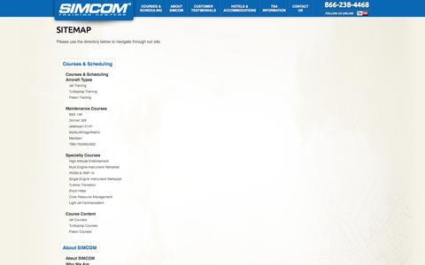 Screenshot of Site Map Page simulator.com - Sitemap  |  SIMCOM Training Centers - captured Oct. 26, 2014