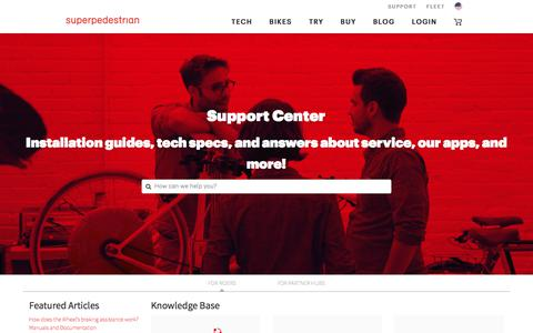 Screenshot of Support Page superpedestrian.com - Support - captured Sept. 19, 2018