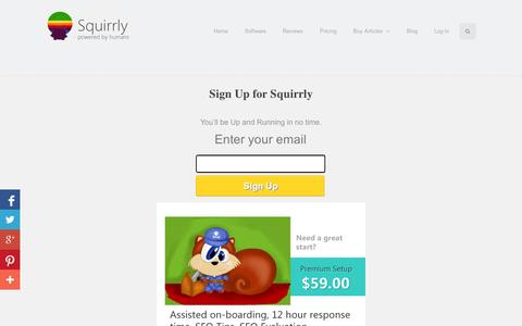 Screenshot of Signup Page squirrly.co - Sign Up for Squirrly - captured Sept. 11, 2014