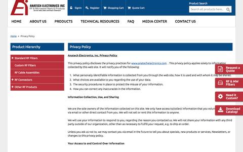 Screenshot of Privacy Page anatechelectronics.com - Privacy Policy RF filters - captured May 30, 2017