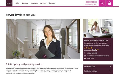 Screenshot of Services Page jezzards.co.uk - Estate agency, lettings and property management services - captured Sept. 20, 2018