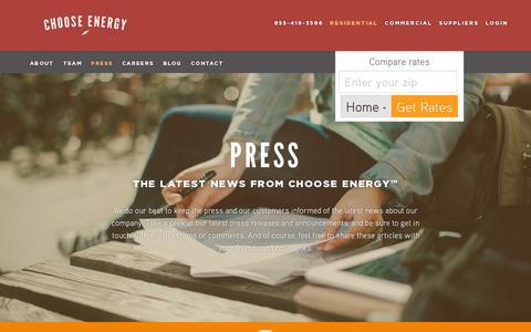 Screenshot of Press Page chooseenergy.com - Press  | Choose Energy - captured July 19, 2014