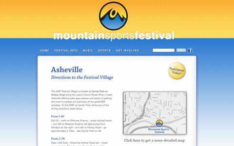 Screenshot of Maps & Directions Page mountainsportsfestival.com - Mountain Sports Festival – Asheville, NC « 2014 Mountain Sports Festival- Asheville, NC - captured Oct. 26, 2014