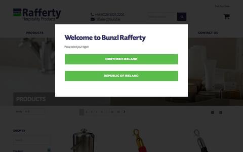 Screenshot of Products Page raffertyhospitality.com - Products - Bunzl Rafferty - captured Nov. 23, 2016