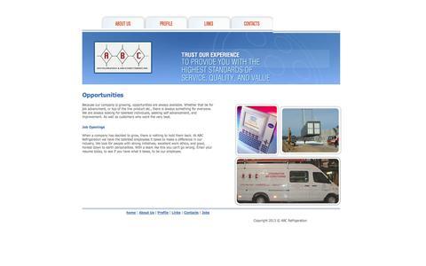 Screenshot of Jobs Page abcrefrigeration.com - ABC Refrigeration :: Welcome - captured Oct. 4, 2014