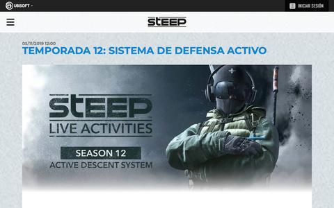 Screenshot of Press Page ubisoft.com - Temporada 12: Sistema de Defensa Activo | Campamento base de los Competidores de Steep - UBISOFT - captured Nov. 8, 2019