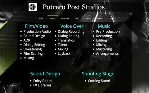 Screenshot of Services Page potreropost.com - Potrero Post Studios | SERVICES - captured Sept. 29, 2018