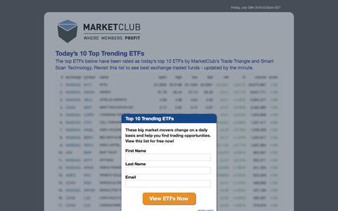 Screenshot of Landing Page ino.com - Today's 10 Top Trending ETFs - MarketClub - captured July 30, 2016