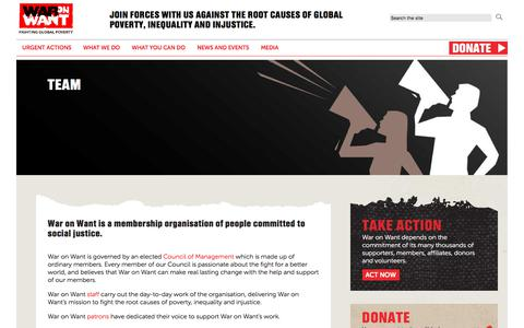 Screenshot of Team Page waronwant.org - Team | War on Want - captured Sept. 21, 2018