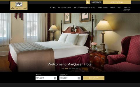 Screenshot of Home Page marqueen.com - MarQueen Hotel - Seattle - USA - captured Oct. 6, 2014