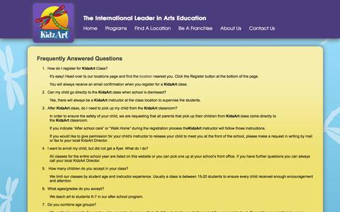 Screenshot of FAQ Page kidzart.com - KidzArt - International Leader in Arts Education - captured Jan. 22, 2016