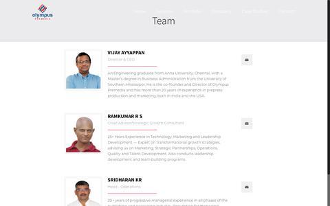 Screenshot of Team Page olympuspkg.com - Team - Olympus Premedia - captured Nov. 15, 2018