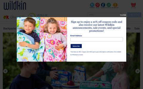 Screenshot of Home Page wildkin.com - Kids Bedding for boys, girls bedding, gear and decor - captured July 24, 2016