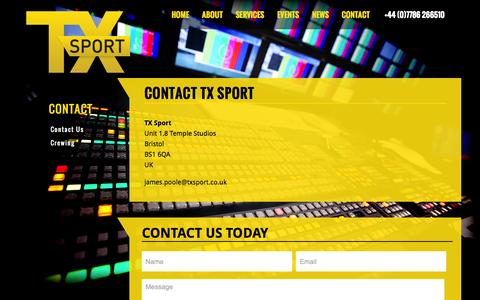 Screenshot of Contact Page txsport.co.uk - TX Sport :: Contact Us - captured Oct. 9, 2014