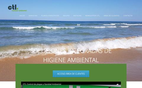 Screenshot of Home Page ctl-plagas.com - CTL empresa de Control de Plagas y Sanidad Ambiental. - captured July 10, 2017