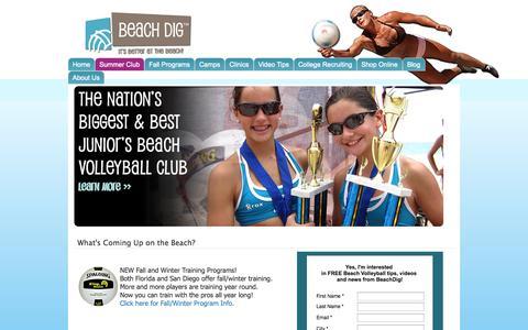 Screenshot of Home Page beachdig.com - Beach Dig | Beach Volleyball Training, - captured Oct. 5, 2014