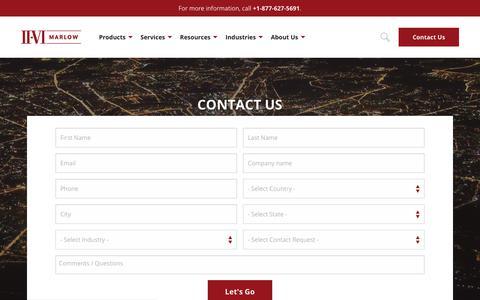 Screenshot of Contact Page marlow.com - Contact Us   II-VI Marlow - captured Oct. 1, 2018