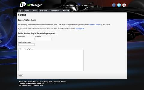 Screenshot of Contact Page igpmanager.com - Contact - captured Sept. 19, 2014