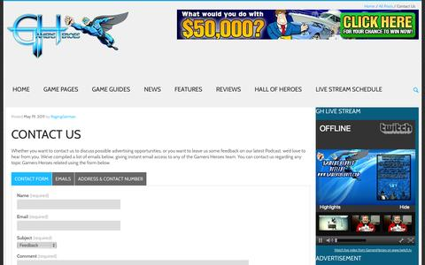 Screenshot of Contact Page gamersheroes.com - Contact Us - captured Sept. 23, 2014