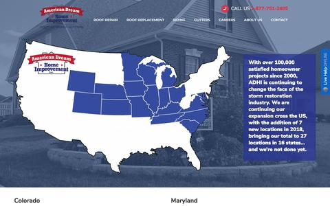 Screenshot of Locations Page americandreamhomeimprovement.com - Locations - American Dream Home Improvement - captured May 27, 2018