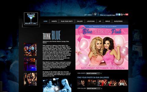 Screenshot of Home Page bluemartinilounge.com - Upscale Florida Bar | Live Entertainment | Happy Hour | Blue Martini - captured Sept. 19, 2014