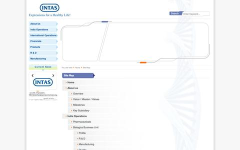 Screenshot of Site Map Page intaspharma.com - Intas Pharmaceuticals Ltd. » Site Map :: Intas - a leading global pharmaceutical formulation development, manufacturing and marketing company - captured Sept. 23, 2014