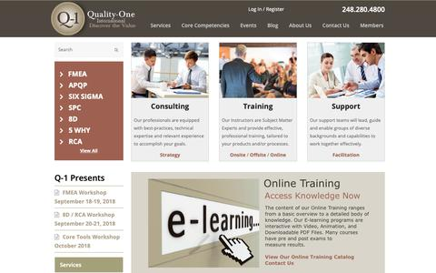 Screenshot of Home Page quality-one.com - Quality-One | Quality and Reliability Services - captured Sept. 28, 2018