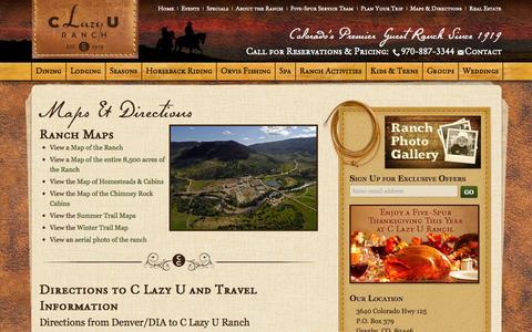 Screenshot of Maps & Directions Page clazyu.com - Ranch Maps & Directions To C Lazy U Guest Ranch | Granby, Colorado | C Lazy U Ranch - captured Oct. 5, 2014