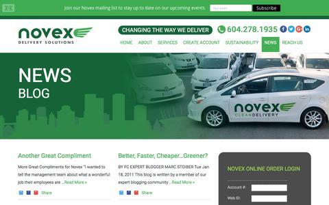Screenshot of Press Page novex.ca - News - Novex - captured Nov. 14, 2017