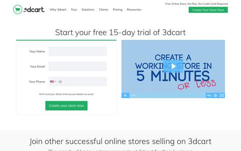 Screenshot of Trial Page 3dcart.com - Create a free online store | Make your own online store - captured May 23, 2018
