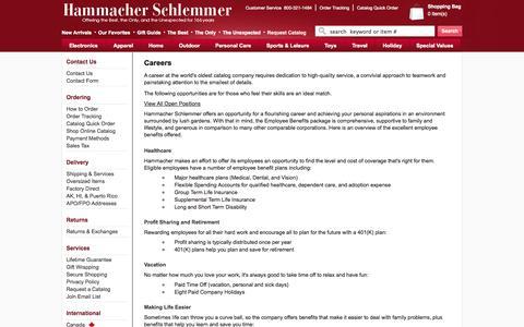 Screenshot of Jobs Page hammacher.com - HS-Careers - Hammacher Schlemmer - captured Sept. 18, 2014