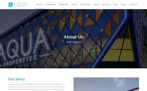 Screenshot of About Page aquaproperties.com - About Us - Aqua Properties - captured Aug. 18, 2019