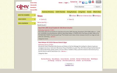 Screenshot of Press Page glmvchamber.org - News - GLMV Chamber of Commerce - captured Oct. 1, 2014