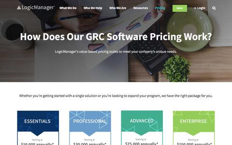 Screenshot of Pricing Page logicmanager.com - ERM & GRC Software Pricing | Cost of Risk Management - captured Feb. 15, 2018