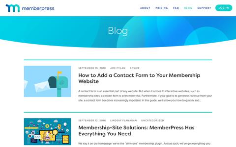 Screenshot of Blog memberpress.com - Everything You Need to Know About Membership Sites - Blog - captured Sept. 23, 2018