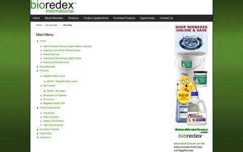 Screenshot of Site Map Page bioredex.com - Main Site Map - captured Oct. 5, 2014