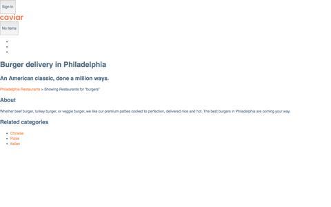 Burger delivery in Philadelphia | Caviar